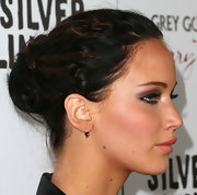 Jennifer Lawrence pulled her hair back in a messy-glam bun for the premiere of 'Silver Linings Playbook.'