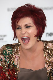 Sharon Osbourne styled her hair into a trendy razor cut for the 2010 Elton John AIDS Foundation Oscar-viewing party.