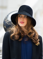 Charlotte Casiraghi attended the Monaco National Day 2012 ceremony wearing an elegant black cloche.