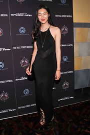 Liu Wen attended the 'Amazing Spider-Man' special screening wearing a slinky black halter dress.