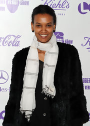 Liya Kebede teamed a patterned white scarf with a black fur coat for the premiere of 'The Robert Verdi Show Starring Robert Verdi.'