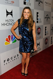Natalie Coughlin got all dolled up in a blue sequin dress for the NBCUniversal Golden Globes viewing party.