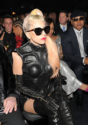 Lady Gaga completed her leather ensemble with a pair of zip-up gloves.