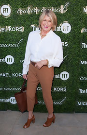Martha Stewart completed her casual ensemble with comfy-looking brown peep-toe booties.