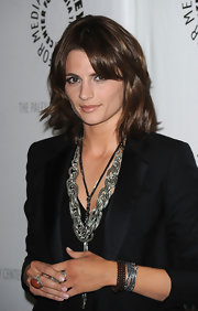 Stana Katic styled her black suit with a chunky silver chain necklace for the Paley Center presentation of 'Castle.'