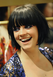 Lily Allen looked adorable wearing this short bob with eye-grazing bangs at the Lucy in Disguise pop-up shop launch.