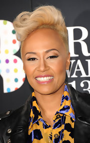 Emeli Sande attended the Brit Awards nominations announcement wearing her hair in a wavy fauxhawk.