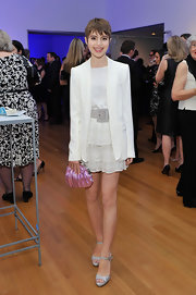 Sami Gayle added a touch of sparkle with a pair of silver platform sandals.