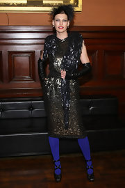 Linda Evangelista definitely looked high-fashion wearing a sequined dress at the Lycee Francais de New York 2012 gala.