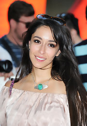 Oona Chaplin completed her look with this lovely silver statement necklace.