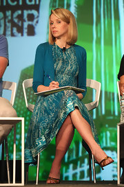 Marissa Mayer showed off her effortless style with this teal print dress during TechCrunch Disrupt NYC 2012.