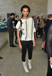 Liya Kebede paired a boxy print blouse with black skinnies for the Tribute to the Models of Versailles 1973 event.