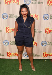 Mindy Kaling kept it breezy in a navy romper at the premiere of 'Parks & Recreation.'