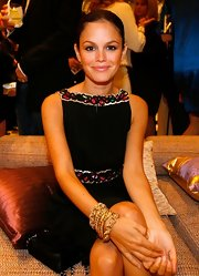 Rachel Bilson accessorized with layers of gold chain bracelets during the P.S. Arts party.