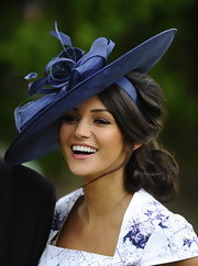 Michelle Keegan got all dolled up with this frilly blue hat for the Dubai Duty Free Irish Derby.