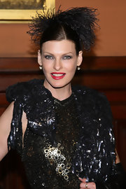 Linda Evangelista wore a black fringed headdress at the Lycee Francais de New York gala.