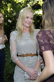 Kate Bosworth styled her lovely lace dress with a simple brown leather belt for the Burberry Beauty garden tea event.