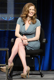Mireille Enos was all smiles at the panel of 'The Killing' at the Winter TCA press tour wearing a blue dress and a pair of Triple Platform Pumps.