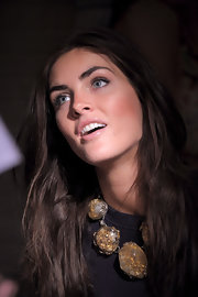 Hilary Rhoda attended the SI Swimsuit lunch at STK wearing a massive gemstone statement necklace.