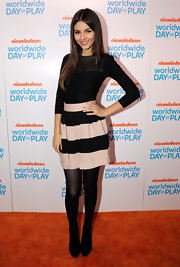Victoria Justice looked cute in a color-block full mini skirt when she attended Nickelodeon's celebration of the 8th Annual Worldwide Day of Play.