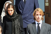 Charlotte Casiraghi wore a black lace head scarf for the funeral of Princess Melanie-Antoinette.