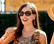 Camilla Belle kept the sun out with a pair of squarish shades while attending the Veuve Clicquot Polo Classic.