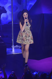 Camila Cabello performed at the Crazy Good VMA concert wearing a floral baby doll dress.