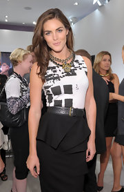 Hilary Rhoda accentuated her tiny waist with an edgy black leather belt during Fashion's Night Out at Saks Fifth Avenue.