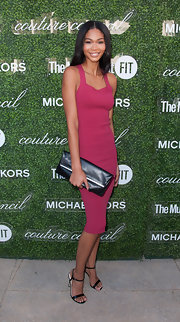 Chanel Iman looked head-to-toe sexy in her body-con dress and minimalist-chic sandals.
