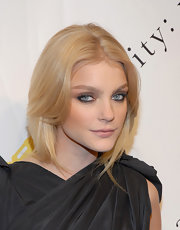 Jessica Stam sported a chic face-framing, center-parted hairstyle during the charity: ball.