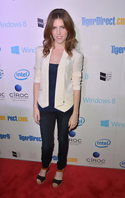 Anna Kendrick was casual yet smart in multicolored wedges, jeans, and a white blazer during the Holiday Tech Bash.