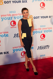 Eva Longoria was chic and modern in a black and yellow sheath dress by Victoria Beckham at the Your Life Your Time Your Vote event.