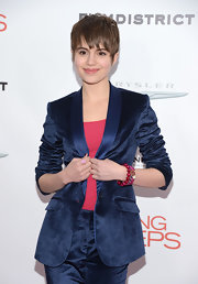 Sami Gayle added a girly touch to her menswear-inspired look with layers of beaded bracelets when she attended the 'Playing for Keeps' premiere.