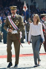 Princess Letizia completed her outfit with cute and comfy blue ballet flats.