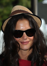 Katie Holmes accessorized with a cute straw fedora at the National Dance Day celebration.