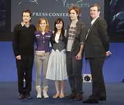 Emma Watson donned a pair of dangerously low-slung jeans by Sass & Bide for the 'Harry Potter' press conference in Tokyo.