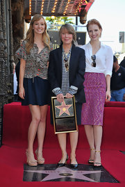 Jessica Chastain was casual-chic in a white button-down during Sissy Spacek's Hollywood Walk of Fame ceremony.