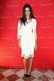 Julia Restoin-Roitfeld looked very polished at the Savelli smart phone launch in a Dolce & Gabbana LWD with lacy accents.