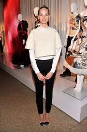 Lauren Santo Domingo chose a pair of black skinny pants to complete her outfit.