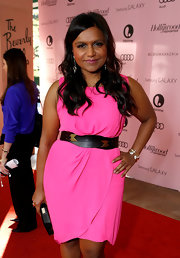 Mindy Kaling teamed her hot-pink dress with a pair of gold bracelets for the Power 100: Women in Entertainment breakfast.