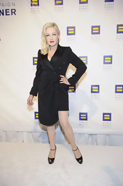 Cyndi Lauper arrived at the Annual Human Rights Campaign National Dinner wearing an asymmetric hem wrap-dress.