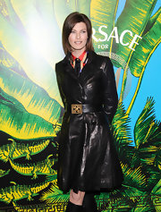 Linda Evangelista was spotted at the Versace for H&M Fashion event wearing a stylish leather coat.