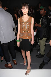Sami Gayle looked youthful and chic in an embellished brown tank top during the Tracy Reese fashion show.
