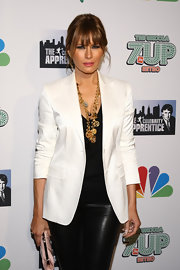 Melania Trump jazzed up her blazer and pants ensemble with a chunky gold charm necklace for the 'Celebrity Apprentice' season 4 finale.