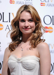 Lily James looked very cute with her curly 'do at the Laurence Olivier Awards.