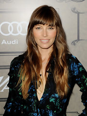 Jessica Biel sported boho waves with blunt bangs at the Variety Power of Women event.