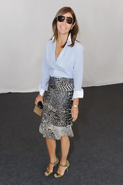 Carine Roitfeld was menswear-chic up top in a subtly striped blue button-down during Mercedes-Benz Fashion Week.