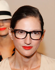 Jenna Lyons opted for a simple side-parted bun when she attended the J. Crew fashion show.