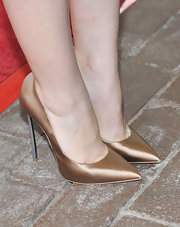 Lily Collins wore bronze blade Casadei pumps to the premiere of 'Writers' at the 2012 Toronto International Film Festival.
