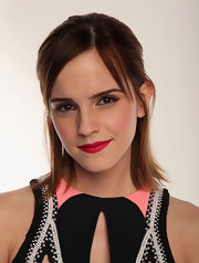 Emma Watson's lips totally popped with this eye-catching shade of red.